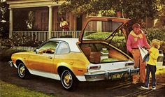 Lloyd came up behind her as she was opening the door of a double-parked Ford) Pinto Runabout) Hatchback. Ford Pinto, Ford Maverick, Ford Lincoln Mercury, Best Muscle Cars, Vintage Ads, Vintage Stuff, Car Logos, Car Advertising, Us Cars
