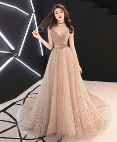 2019 New Coming Champagne Sweetheart Tulle Long Prom Dress, Champagne Tulle Evening Dress - Hijab Clothing Green Evening Dress, Lace Evening Dresses, Elegant Dresses, Pretty Dresses, Beautiful Dresses, Prom Dresses, Formal Dresses, Green Dress, Bridesmaid Dress