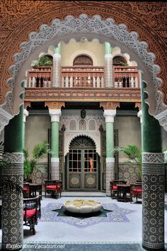 courtyard at the riad Mumtaz Mahal in Essaouira, Morocco http://www.pinterest.com/heidrunl/scheherazade-co/