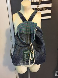 9784591a4464 Sweet vintage denim backpack Guess by George Marciano Distressed denim and  plaid Plaid is a bit