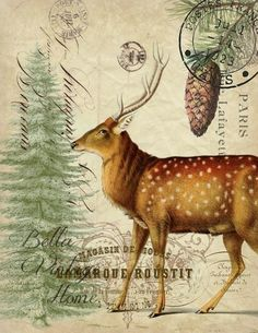 Paper  Christmas Deer Print,  Pillow, Note Cards, Tea Towel #decoupage #picture