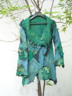 saco patchwork de seda y fieltro revesrible Celia Mikkelsen www.artefieltros.com