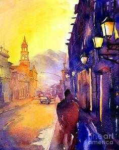 watercolor-painting-of-street-and-church-morelia-mexico-ryan-fox.jpg (714×900)
