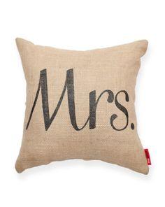 Mrs Burlap Throw Pillow//