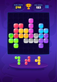 Neon Galaxy Block Puzzle on Behance Game Ui Design, Layout Design, Block Puzzle Game, Kit Games, Word Block, Game App, Mobile Game, Cube, Tower Defense