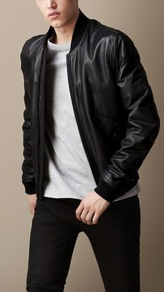 Burberry Brit Nappa Leather Bomber Jacket #Fashion