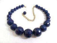 Navy Blue Bead Necklace - Graduated Adjustable Plastic Choker via Etsy