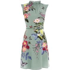 Oasis Madison Placement Skater (£45) ❤ liked on Polyvore featuring dresses, khaki, women, ruffle dress, flower print dress, skater dress, green skater dress and floral ruffle dress