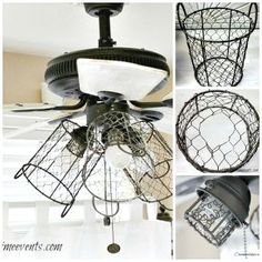 how i gave my ceiling fan a sheik, rustic, farmhouse look, with this diy lighting. white washed fan blades and chicken wire basket sconces over the bulbs. Farmhouse Dining Room Lighting, Farmhouse Lamps, Farmhouse Light Fixtures, Farmhouse Style Kitchen, Farmhouse Style Decorating, Rustic Farmhouse, French Farmhouse, Interior Decorating, Farmhouse Furniture