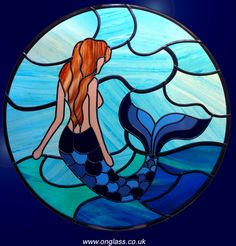 mermaid stained glass | Stained glass, windows, modern, jewel, bevel, etched, bevelled ...