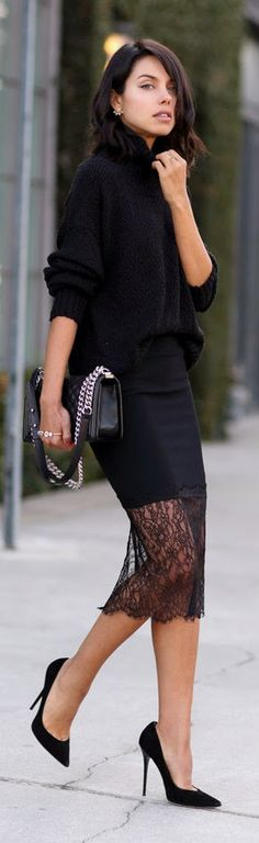Everyday, all day! JUST BLACK - black lace trim skirt top oversized long sleeve sweater by VivaLuxury