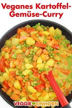 Veganes KARTOFFEL-GEMÜSE-CURRY | Einfaches veganes Rezept | Leckeres Curry mit Paprika, Möhren und Erbsen | Rezept mit VIDEO #VeggieEinhorn