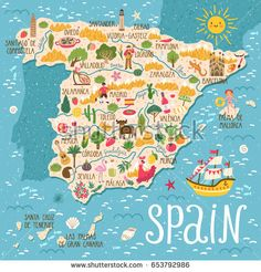 Vector stylized map of Spain. Travel illustration with spanish landmarks, people, food and plants.