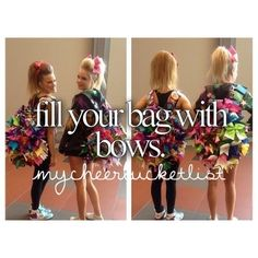 We LOVE bows! Use Team Cheer's bow holder to attach your bows to your bag ! http://www.teamcheer.com/Cheer-Bow-Holder