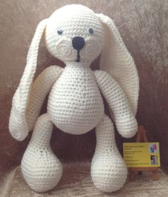Big feet crochet bunny toy by kingsnqueenscrochet on Etsy
