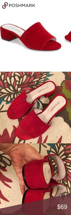 Jeffery Campbell Beaton mules Beautiful red suede, mules, very stunning, size 7.5, worn once ! no trades Jeffrey Campbell Shoes Mules & Clogs