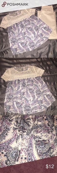 🔴3 FOR $20🔴XHILARATION BOUTIQUE BLOUSE SIZE S VERY CUTE BLOUSE FOR CASUAL/WORK.  BUTTONS UP IN THE BACK.  COLORFUL PAISLEY DESIGN.. CROCHET DETAIL.  SIZE S, EXCELLENT CONDITION. 🔴3 FOR $20.  ANY ITEMS $20 AND UNDER IS 3 FOR $20.  ANY ITEMS $10 AND UNDER IS 4 FOR $10. Xhilaration Tops Blouses
