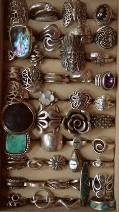 Vintage Boho Silver Rings | Hippie Bohemian Jewelry | .Fashion ring only $0.99 shop at Costwe.com | Turquoise Stones