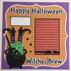 """Premade 12x12 """"Halloween"""" Scrapbook Page Layouts, Witches Brew by JuliesPaperCrafts on Etsy"""