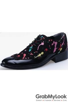 GrabMyLook Black Patent Leather Painting Lace Up Point Head Mens Oxfords Shoes
