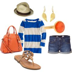 orange and blue. love the shirt, sandles and shorts