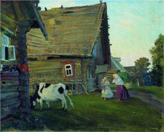 The hut. Kostroma Province.....by Boris Kustodiev