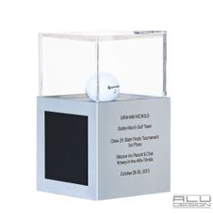 1st, 2nd or 3rd Place Trophy Cases. Luxury Modern Golf Ball Display Cases Anodized Silver Aluminum with Black Carbon Fiber look. Modern Golf Ball Display. Add your logo, HOLE IN ONE LOW ROUND COURSE RECORD or Trophy, Custom Design MADE IN USA by ALU DESIGN Golfball Vitrine Golfball Schaukasten Golfregal