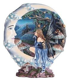 """11.5"""" Blue Fairy with Moon Decorative Display Dish Fantasy Statue Collectible"""