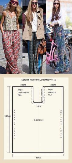 ¡El sastre • la Costura, el rehacimiento - es fácil! Los pantalones simples en zavyazkah o la goma. El patrón a 46-50 dimensión