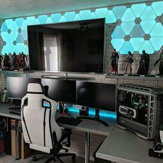 50 Video Game Room Ideas to Maximize Your Gaming Experience. 50 Video Game Room Ideas to Maximize Your Gaming Experience. 10 Video Game Room Ideas to Maximize Your Gaming Experience. Gaming Desk Setup, Pc Setup, Gamer Setup, Nanoleaf Aurora, Video Game Rooms, Video Games, Game Room Design, Gamer Room, Pc Gamer