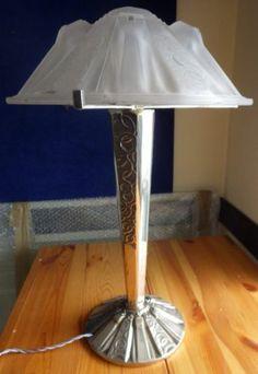 Rare Lampe Champignon Verre Muller Freres Luneville ART Deco Bronze Argenté | eBay