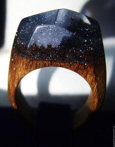 Купить Деревянное кольцо Черное сияние. Кольцо из натурального дерева ореха. - черный