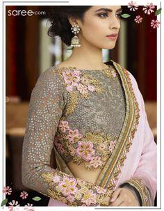Grey and Pink Silk Saree with Resham Embroidey Work - 15