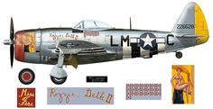 P-47D-25-RE (s/n 42-26628) coded 'LM-C' and named Miss Fire / Rosie Geth II, flown by Capt. Frederick J. Christensen Jr. of 62nd FS / 56th FG.