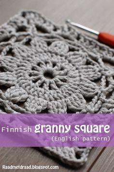 Raad met draad: Finnish granny square pattern. Orignal tutorial in Finnish, with chart by VMSoma Koppa here http://omakoppa.blogspot.fi/2011/12/virkattu-kukkanelio-ohje.html