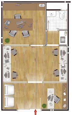 Centre Ville I e II Comercial na Planta Office Cubicle Design, Corporate Office Decor, Small Office Design, Small Space Office, Office Layout Plan, Office Space Planning, Office Floor Plan, Office Furniture Design, Office Interior Design