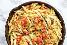 5-Ingredient Taco Alfredo   pasta, dinner, easy recipe, chicken, skillet, entree, main dish, family friendly, noodles