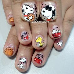 Mickey family nail art by Weiwei - Nailpolis: Museum of Nail Art Funky Nail Art, Funky Nails, Cute Nail Art, Simple Nail Art Designs, Toe Nail Designs, Fall Nail Designs, Super Cute Nails, Pretty Nails, Snoopy Nails