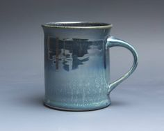 Sale - Pottery coffee mug, ceramic mug, stoneware tea cup navy blue 16 oz 3948 by BlueParrotPots on Etsy
