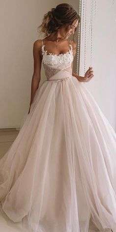 30 Disney Wedding Dresses For Fairy Tale Inspiration ❤ disney wedding dresses ball gown with spaghetti straps blush kuznetcova brand Romantic strapless sweetheart neckline princess ball gown wedding dress Disney Wedding Dresses, Best Prom Dresses, Pakistani Wedding Dresses, Country Wedding Dresses, Dream Wedding Dresses, Wedding Gowns, Wedding Bride, Disney Dresses, Bridal Gown