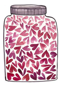 """For a song illustration. """"Jar of hearts"""" by Christina Perry! Love Jar, I Love Heart, Happy Heart, Watercolor Cards, Watercolor Paintings, Valentines Watercolor, Watercolors, Jar Of Hearts, Pink Hearts"""