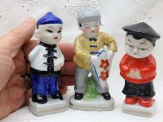 Vtg Asian Chinese Oriental Ceramic Porcelain Figurines MARKED Japan Lot of 3