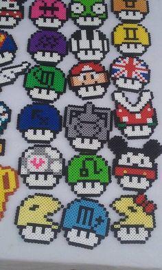 Mash up Mushrooms Super Mario Perler beads by WildCardWhimsys