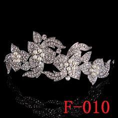 F010 Wedding Birdal Pageant Princess Tiara Headband Crown Headpiece w Rhinestones for Women