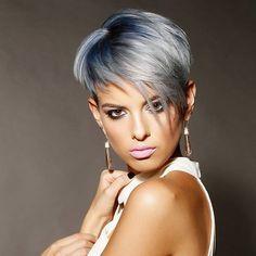 Amazing short undercut...blue grey melting to lighter shades of icy blonde…