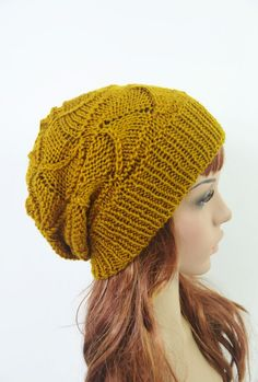 Slouchy Hat in Mustard Gold