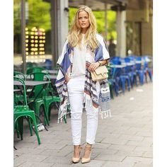 @joannafingal - hands down favorite: #Poncho by #Esprit nonchalantly thrown over plain white – wow! @_streetstyle