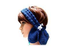Scarf Navy headband head wrap 3option wear lace by JanetLongArts, $40.00 https://www.etsy.com/treasury/NTM5ODkzNXwyNzI1ODAyNDY2/thinking-blue-for-spring