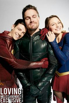 "CW crossover: Arrow, The Flash, and Supergirl! flashallens: ""Grant Gustin, Melissa Benoist and Stephen Amell for EW. Saga Film, Film Serie, Marvel Dc, Flash E Supergirl, Hight School Musical, Series Dc, Superhero Shows, The Flash Grant Gustin, Cw Dc"