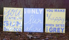 You Are My Sunshine Canvas Quote Art, Yellow and Grey Home Decor, Song Lyrics Art